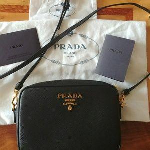 Prada Saffiano leather crossbody camera bag